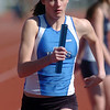 Brittney Zec, Broomfield, running in the 3200m relay during the Broomfield track meet at Elizabeth Kennedy Stadium on Saturday.<br /> April 3, 2010<br /> Staff photo/David R. Jennings