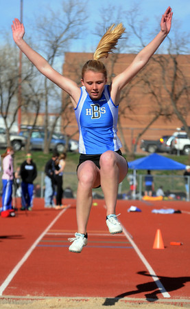 Kate Sumerfield in the triple jump at the Broomfield track meet at Elizabeth Kennedy Stadium on Saturday.<br /> April 3, 2010<br /> Staff photo/David R. Jennings