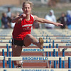 Sarah Mars, Fairview, running the 100m hurdles during the Broomfield track meet at Elizabeth Kennedy Stadium on Saturday.<br /> April 3, 2010<br /> Staff photo/David R. Jennings