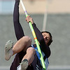 Isaac Wilson, Broomfield, in the pole vault during the Broomfield track meet at Elizabeth Kennedy Stadium on Saturday.<br /> April 3, 2010<br /> Staff photo/David R. Jennings
