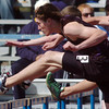 Boulder's Mack Felkley running in the 110m hurdles during the Broomfield track meet at Elizabeth Kennedy Stadium on Saturday.<br /> April 3, 2010<br /> Staff photo/David R. Jennings