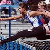 Kayla Wein, Broomfield, running in the 100m hurdles during the Broomfield track meet at Elizabeth Kennedy Stadium on Saturday.<br /> April 3, 2010<br /> Staff photo/David R. Jennings