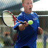 Broomfield's Colin Jensen, number 3 singles, returns the ball to Silver Creek's Noah Gardner during play at Silver Creek on Tuesday.<br /> September 20, 2011<br /> staff photo/ David R. Jennings