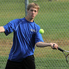 Broomfield's Zach Kusick, number 1 singles, retuens the ball to Silver Creek's Ryan Carson during play at Silver Creek on Tuesday.<br /> September 20, 2011<br /> staff photo/ David R. Jennings