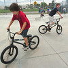 Jayce Wilpolt, 10, left, and Seth Loovis, 13, ride in the  Broomfield Skate Park on Tuesday.<br /> <br /> August 4, 2009<br /> staff photo/David R. Jennings