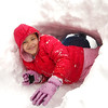 Grace Mosley, 6, and Holden Kohlmeyer, 5, play in the snow tunnel in her front yard during the February 3rd snowstorm.<br /> February 3, 2012<br /> staff photo/ David R. Jennings