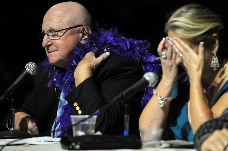 Judges Paul Derda makes comments as Linda Deland reacts during Dancing with the Broomfield Stars on Thursday at 1stBank Center.<br /> <br /> September 23, 2010<br /> staff photo/David R. Jennings