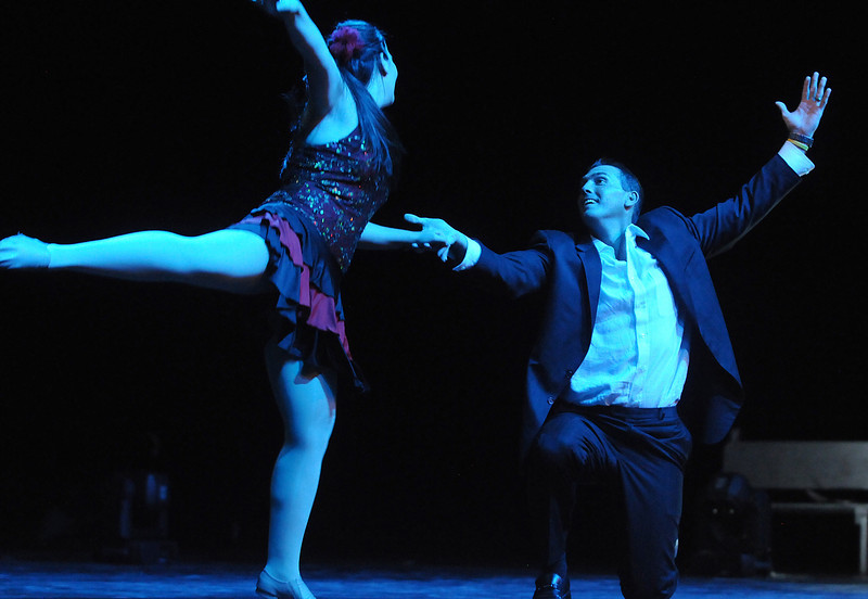 Beau Smith and Carlee Taga perfom a jazz dance during Dancing with the Broomfield Stars on Thursday at 1stBank Center.<br /> <br /> September 23, 2010<br /> staff photo/David R. Jennings