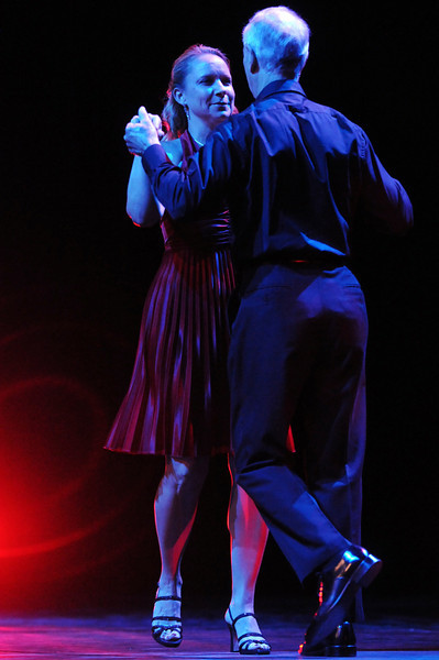 Cindy Gerhardt and Keith Forstrom perform a western swing dance during Dancing with the Broomfield Stars on Thursday at 1stBank Center.<br /> <br /> September 23, 2010<br /> staff photo/David R. Jennings