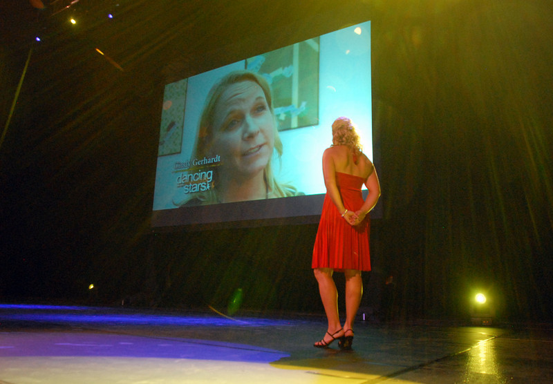 Cindy Gerhardt watches her video before performing during Dancing with Broomfield Stars on Thursday at 1stBank Center.<br /> <br /> September 23, 2010<br /> staff photo/David R. Jennings