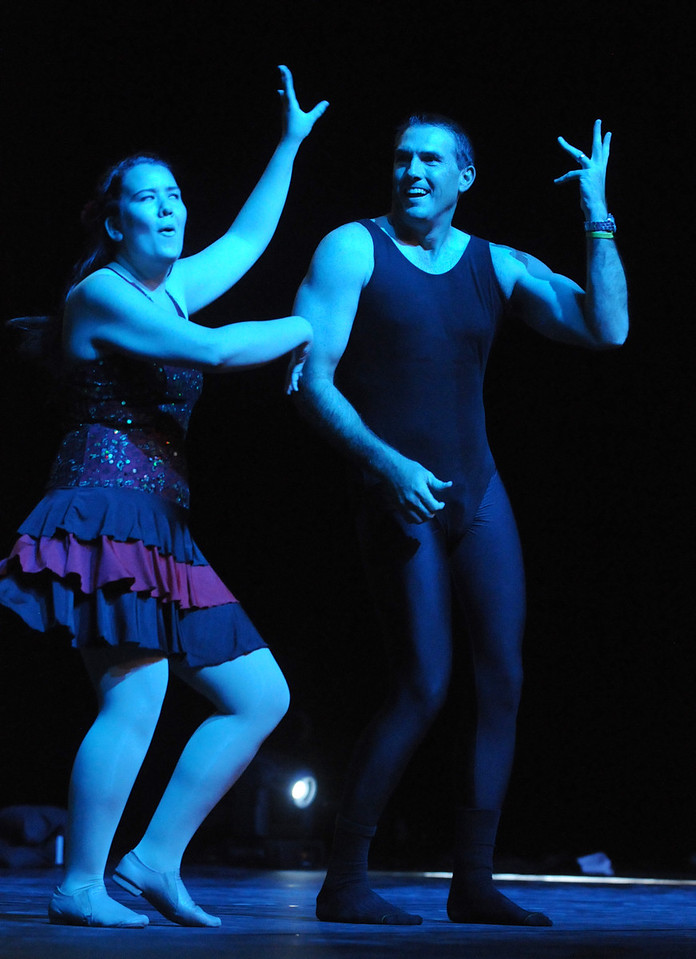 Beau Smith and Carlee Taga perfom a jazz dance to the music of Beyonce during Dancing with the Broomfield Stars on Thursday at 1stBank Center.<br /> <br /> September 23, 2010<br /> staff photo/David R. Jennings