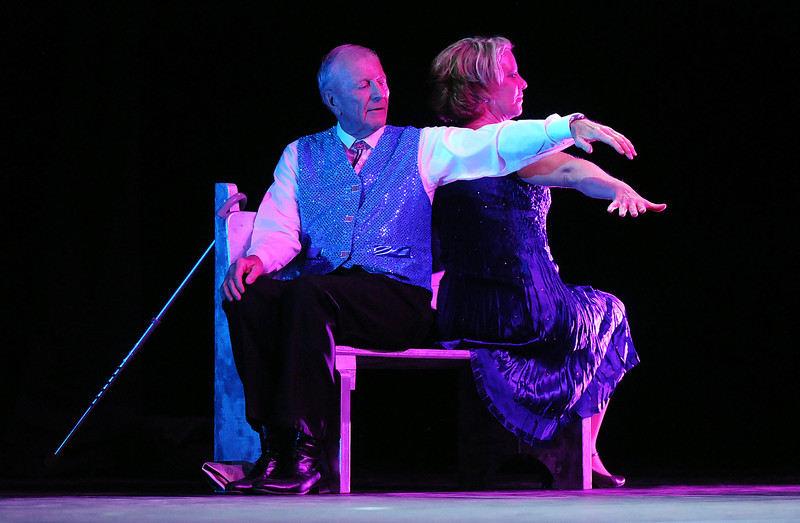 Dr. Bill Markel and Heidi Thomas perfom a swing dance to a story during Dancing with the Broomfield Stars on Thursday at 1stBank Center.<br /> <br /> September 23, 2010<br /> staff photo/David R. Jennings