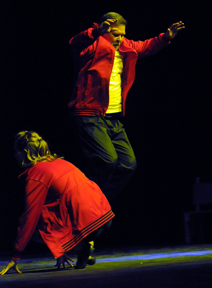John Ferraro and Michele Hastings perform a Hip Hop dance during Dancing with the Broomfield Stars on Thursday at 1stBank Center.<br /> <br /> September 23, 2010<br /> staff photo/David R. Jennings
