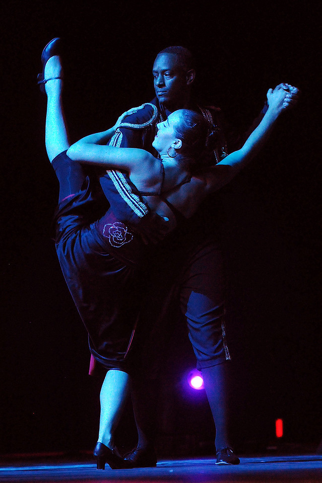 Ken Brown and Sophie Payannet dance the Paso Doble during Dancing with the Broomfield Stars on Thursday at 1stBank Center.<br /> <br /> September 23, 2010<br /> staff photo/David R. Jennings