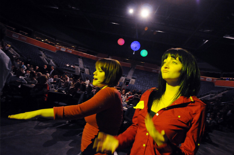 Michelle Smith and Tara Lundquist dance to the music of FACE during Dancing with the Broomfield Stars on Thursday at 1stBank Center.<br /> <br /> September 23, 2010<br /> staff photo/David R. Jennings