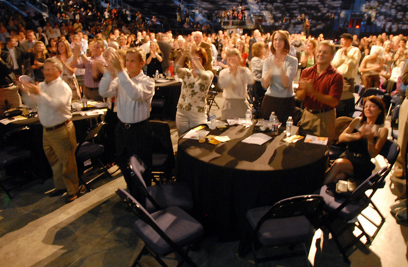The audience gives a standing ovation for a performance during Dancing with the Broomfield Stars on Thursday at 1stBank Center.<br /> <br /> September 23, 2010<br /> staff photo/David R. Jennings