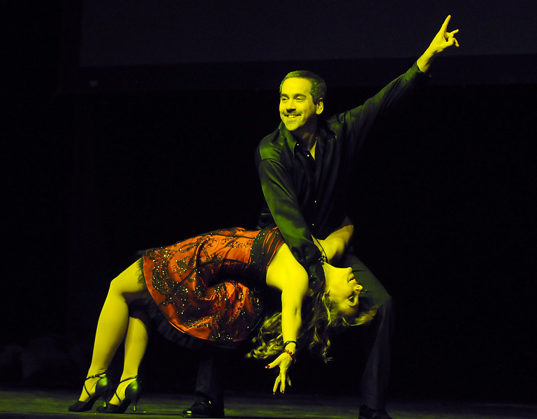 Gina Coufal and Eric Freeman perform a salsa dance for Dancing with the Broomfield Stars on Thursday at 1stBank Center.<br /> <br /> September 23, 2010<br /> staff photo/David R. Jennings