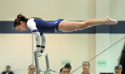 Jessica Riley, Broomfield, performs her routine on the bars during the state 5A gymnastics meet at Thornton High School on Friday.  November 4, 2011 staff photo/ David R. Jennings