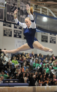 Allie Burgess, Broomfield, performs her routine on the beam during the state 5A gymnastics meet at Thornton High School on Friday.   November 4, 2011 staff photo/ David R. Jennings