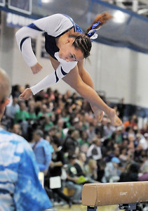 Gabby Maiden, Broomfield, performs her routine on the beam during the state 5A gymnastics meet at Thornton High School on Friday.  November 4, 2011 staff photo/ David R. Jennings