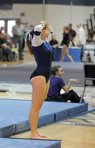 Allie Burgess, Broomfield, shows disapointment with her routine on the beam during the state 5A gymnastics meet at Thornton High School on Friday.   November 4, 2011 staff photo/ David R. Jennings