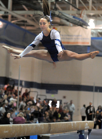 Gabby Maiden, Broomfield, performs her routine on the beam during the state 5A gymnastics meet at Thornton High School on Friday.<br /> November 4, 2011<br /> staff photo/ David R. Jennings