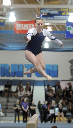 Sophie Meints, Broomfield, performs her routine on the beam during the state 5A gymnastics meet at Thornton High School on Friday.<br /> <br /> November 4, 2011<br /> staff photo/ David R. Jennings