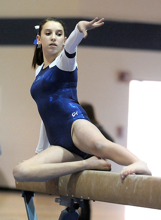 Molly Snipes, Broomfield, performs her routine on the beam during the state 5A gymnastics meet at Thornton High School on Friday.<br /> <br /> November 4, 2011<br /> staff photo/ David R. Jennings