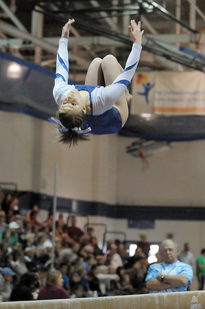 Melanie Stelling, Broomfield, performs her routine on the beam during the state 5A gymnastics meet at Thornton High School on Friday.<br /> <br /> November 4, 2011<br /> staff photo/ David R. Jennings