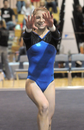 Broomfield's Melanie Stelling performs her floor routine during the state 5A gymnastics meet at Thornton High on Friday. <br /> November 5, 2010<br /> staff photo/David R. Jennings