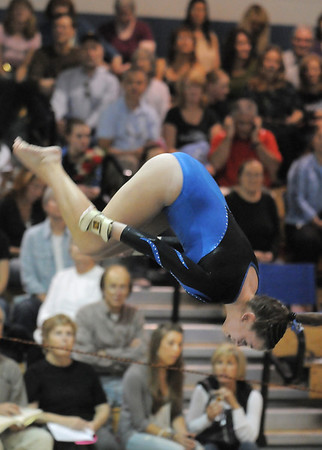 BE1111GYM49<br /> Broomfield's Allie Burgess performs her floor routine during the state 5A gymnastics meet at Thornton High on Friday. <br /> November 5, 2010<br /> staff photo/David R. Jennings