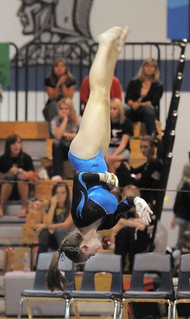 Broomfield's Allie Burgess performs her floor routine during the state 5A gymnastics meet at Thornton High on Friday. <br /> November 5, 2010<br /> staff photo/David R. Jennings