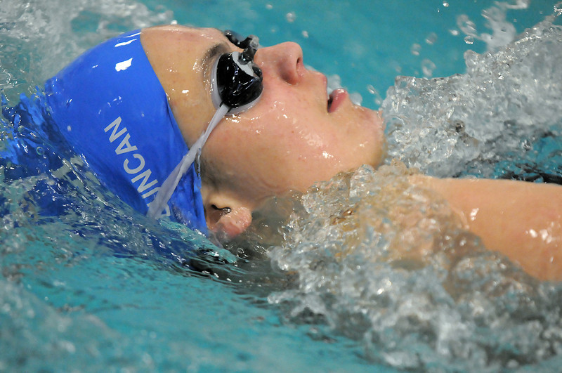 Broomfield's Katalena Laufasa-Duncan swimming the backstroke in the 200 yard IM during the Coaches Invitational Swim Meet at Mountain View Aquatic Center in Loveland on Saturday.<br /> <br /> December 18, 2010<br /> staff photo/David R. Jennings