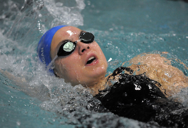 Broomfield's Katalena Laufasa-Duncan swimming in the 100 yard backstroke during the Coaches Invitational Swim Meet at Mountain View Aquatic Center in Loveland on Saturday.<br /> <br /> December 18, 2010<br /> staff photo/David R. Jennings