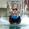 Broomfield's Katalena Laufasa-Duncan launches off to start the backstroke in the 200 yard relay during the 4A state championship swim meet at Mountain View High School in Loveland on Saturday <br /> February 12, 2011<br /> staff photo/David R. Jennings