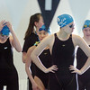 Broomfield's Katalena Laufasa-Duncan, center, prepares to swim the backstroke in the 200 yard relay during the 4A state championship swim meet at Mountain View High School in Loveland on Saturday. <br /> February 12, 2011<br /> staff photo/David R. Jennings