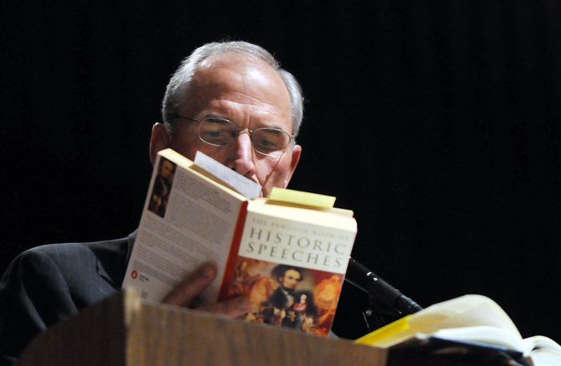 Bob Beauprez, former congressman, reads from President Lincoln's Gettysburg address while speaking at the ceremomies of the Sixth Annual Veteran's Day Obervance at Broomfield High School on Wednesday.<br /> <br /> November 11, 2009<br /> Staff photo/David R. Jennings