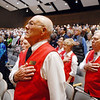 Jim Sparks, left, and other Veteran's Museum members salute during the natinal anthem for the ceremomies at the Sixth Annual Veteran's Day Obervance at Broomfield High School on Wednesday.<br /> <br /> November 11, 2009<br /> Staff photo/David R. Jennings