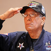 Lou Barrientos, Korean War veteran and  survivor of the  Heart Break Ridge battle, salutes as Taps is played during the ceremomies at the Sixth Annual Veteran's Day Obervance at Broomfield High School on Wednesday.<br /> <br /> November 11, 2009<br /> Staff photo/David R. Jennings