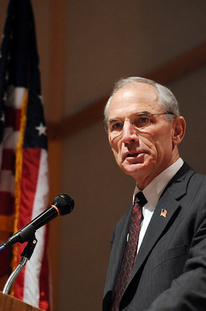 Bob Beauprez, former congressman, speaks at the ceremomies of the Sixth Annual Veteran's Day Obervance at Broomfield High School on Wednesday.<br /> <br /> November 11, 2009<br /> Staff photo/David R. Jennings