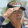 Korean War Veteran Lou Barientos salutes during the playing of TAPS at the close of the Broomfield Veterans Memorial Museum's Memorial Day Picnic on Monday at the Broomfield County Commons Park . More than 500 people attend the picnic on Memorial Day.<br /> May 31, 2010<br /> Staff photo/ David R. Jennings