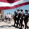 The Broomfield Police Honor Guard marches in to present the colors during the Broomfield Veterans Memorial Museum's Memorial Day Picnic on Monday at the Broomfield County Commons Park .<br /> May 31, 2010<br /> Staff photo/ David R. Jennings