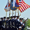 Police officer Crissy McCain leads the combined Broomfield Police and North Metro Fire Honor Guard to present the colors during the Broomfield Veterans Memorial Museum annual Memorial Day Picnic at the Broomfield County Commons.<br /> May 28, 2012 <br /> staff photo/ David R. Jennings