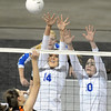Broomfield's Katie Hehf, left, and Jordan Sisson block a spike by Lewis-Palmer during the state 4A tournament at the Denver Coliseum on Saturday.<br /> <br /> November 14, 2009<br /> Staff photo/David R. Jennings