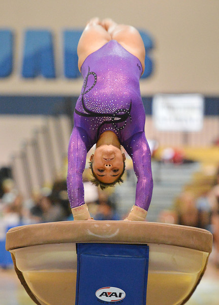 Niwot's Kaili Gallegos performs on the vault during the state individual gymnastics competition at Thornton High School on Saturday.<br /> <br /> November 3, 2012<br /> staff photo/ David R. Jennings