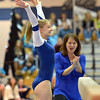 Broomfield's Melanie Stelling finishes her performance on the beam during the state individual gymnastics competition at Thornton High School on Saturday.<br /> <br /> November 3, 2012<br /> staff photo/ David R. Jennings