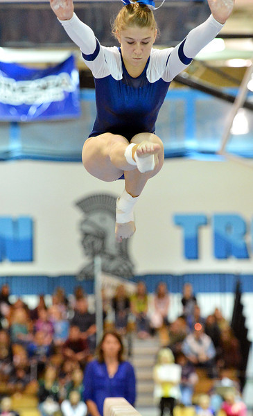 Broomfield's Melanie Stelling performs on the beam during the state individual gymnastics competition at Thornton High School on Saturday.<br /> <br /> <br /> November 3, 2012<br /> staff photo/ David R. Jennings