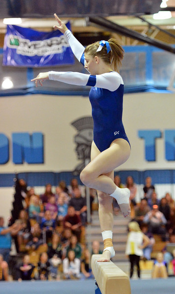 Broomfield's Melanie Stelling performs on the beam during the state individual gymnastics competition at Thornton High School on Saturday.<br /> <br /> November 3, 2012<br /> staff photo/ David R. Jennings