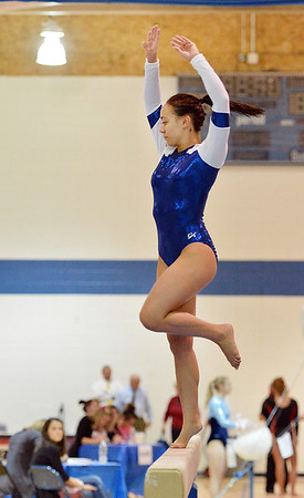 Broomfield's Gabby Maiden performs on the beam during the state individual gymnastics competition at Thornton High School on Saturday.<br /> <br /> November 3, 2012<br /> staff photo/ David R. Jennings