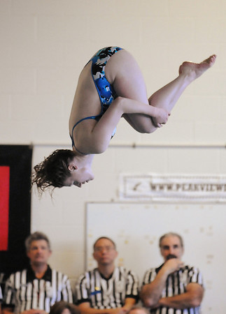 Broomfield diver LeAnna Talarico makes a dive during Saturday's state 4A swim championships at Mtn. View Aquatic Center.<br /> <br /> February 13, 2010<br /> Staff photo/David R. Jennings